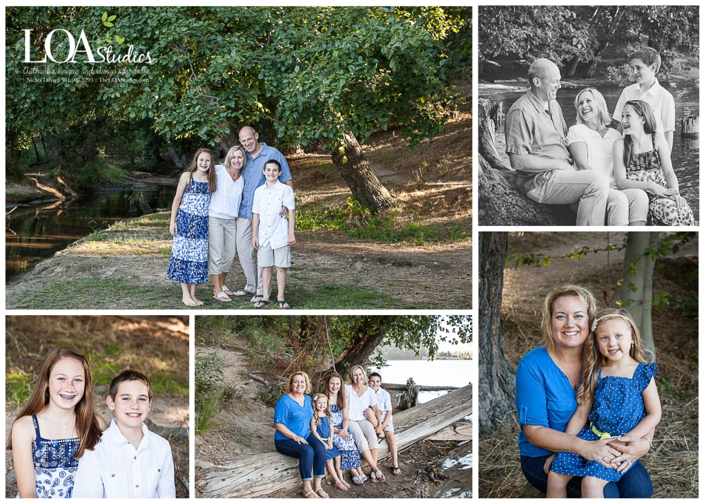 family pictures at the lake