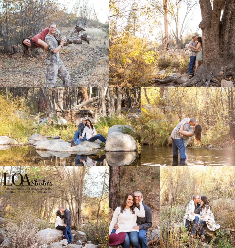 outdoor engagement pictures in the mountain